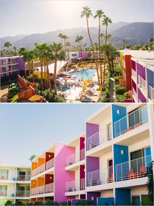 palm springs colourful building