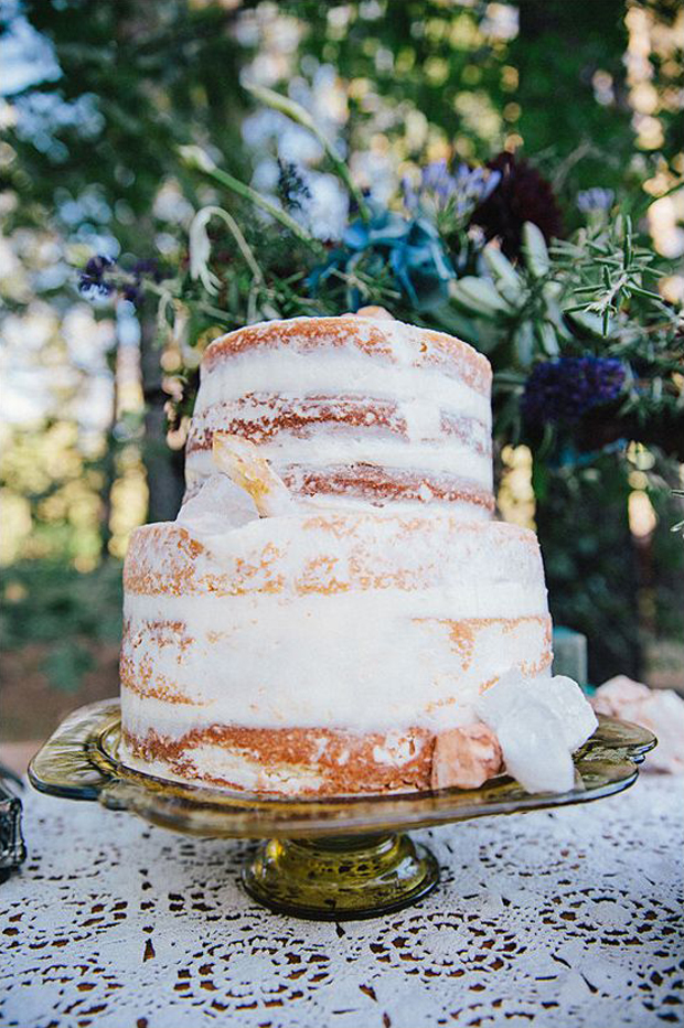 rustic naked cake decorated with quartz crystals