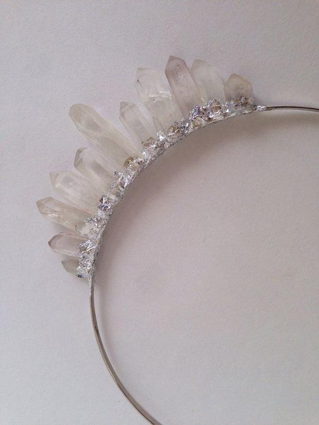 smoky quartzand silver wedding headband