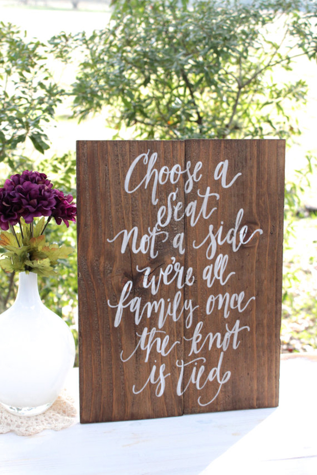 Rustic Wooden Wedding Seating Sign Choose a Seat Not a Side