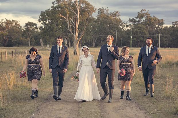 Homemade Lace, Burlap & Hessian Wedding With Original 50s Wedding Dress: Alon & Jodie