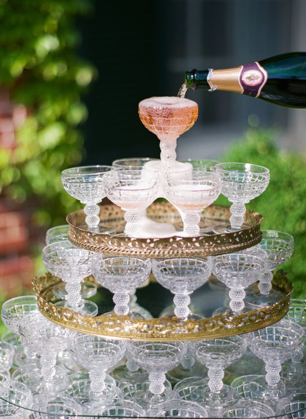 vintage champagne tower