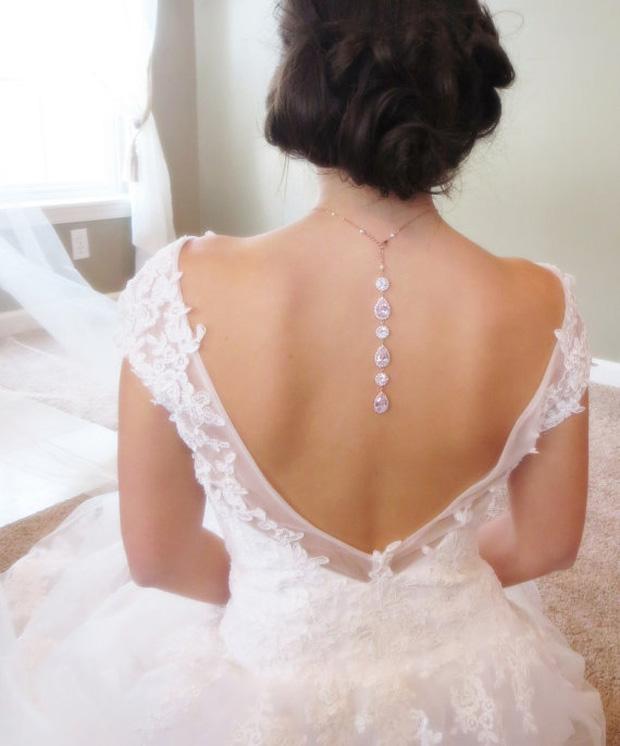 Crystal Backdrop necklace, Bridal backdrop necklace, Bridal necklace, Wedding back drop necklace, Wedding necklace, Teardrop necklace