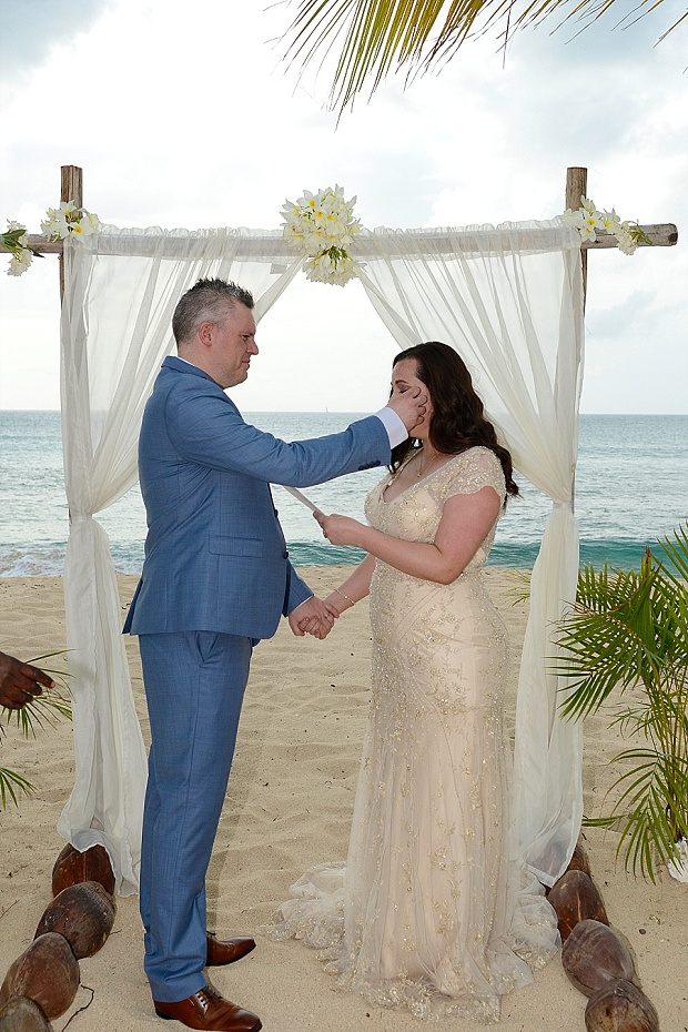 Gold, Champagne Glam Beach Vow Renewal in Antigua Sonia & Chris (25)