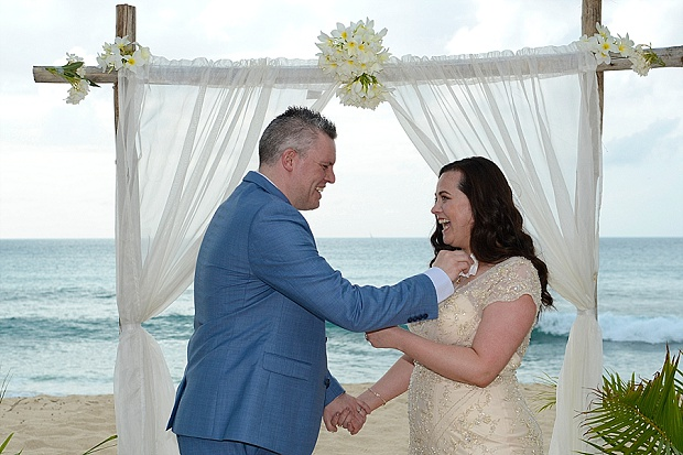Gold, Champagne Glam Beach Vow Renewal in Antigua Sonia & Chris (26)