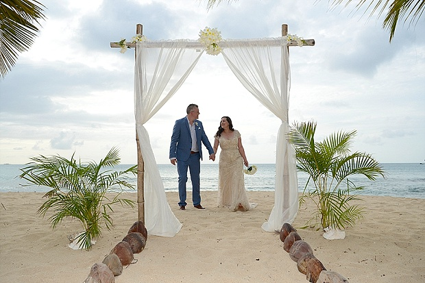Gold, Champagne Glam Beach Vow Renewal in Antigua Sonia & Chris (39)