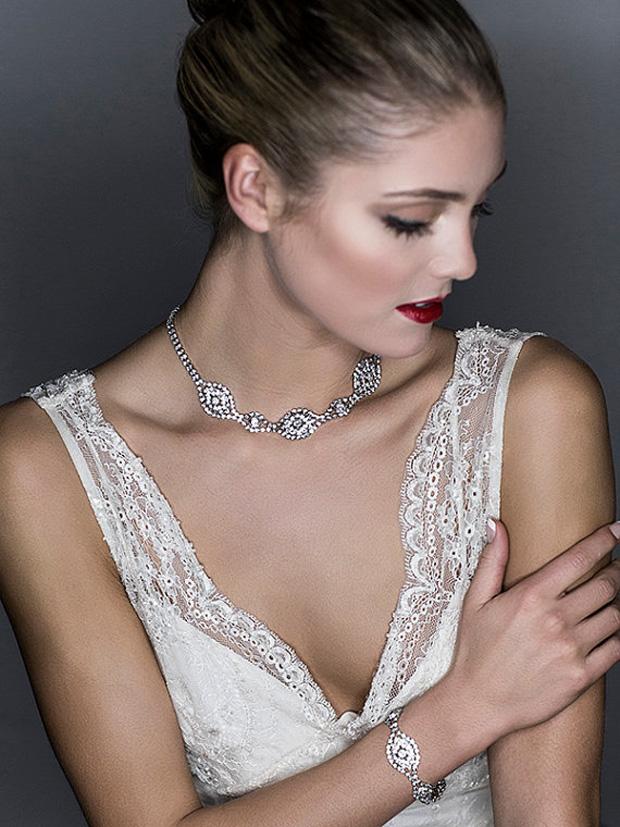 Wedding Necklace, Bridal Necklace, Back Drop Necklace, Swarovski Crystal Statement Necklace, Vintage Style Art Deco Jewelry the front