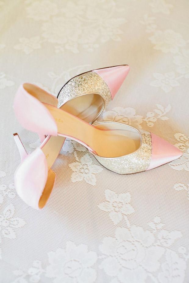 peach, grey and pink wedding cake