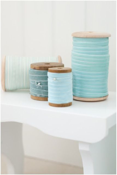 mint and blue ribbons