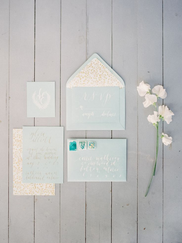 mint  and teal wedding stationery