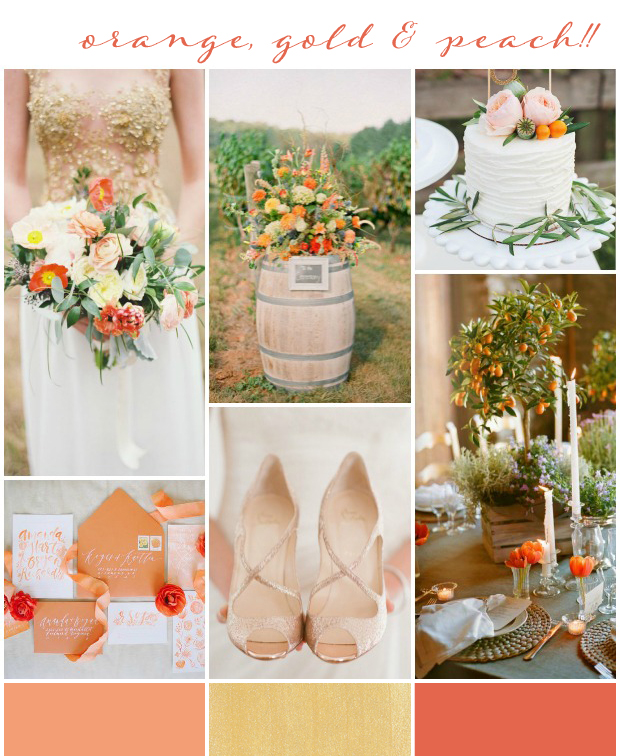 Orange Gold Peach Wedding Inspiration Colour Ideas