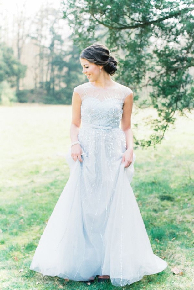 pretty sky blue wedding dress