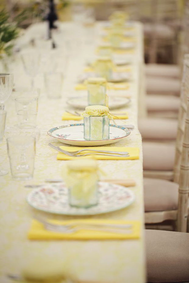 yellow table setting for wedding