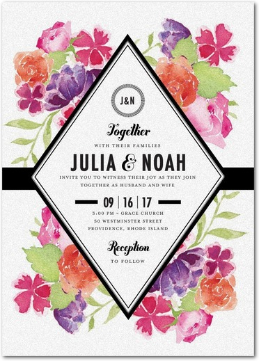 Blossoming Gem Wedding Invitations White