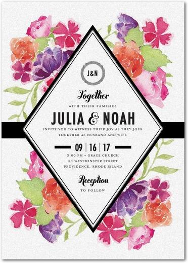 Blossoming Gem Wedding Invitations White