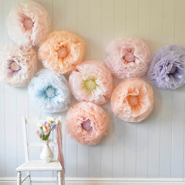 Giant hand-dyed paper flower wall backdrop pastel peach, lavender, blue, blush, lemon,