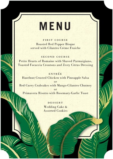 Verdant Palms Menu Cards