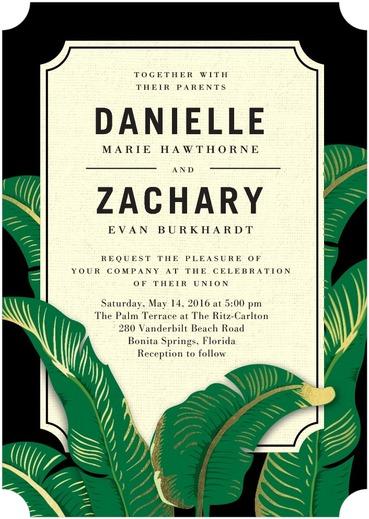 Verdant Palms Wedding Invitations Black