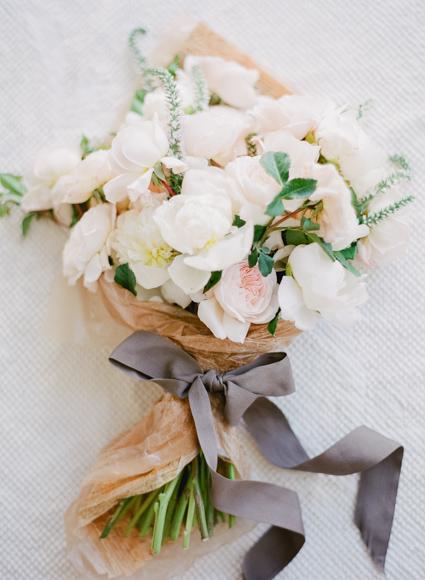 blush and grey ribbon bouquet