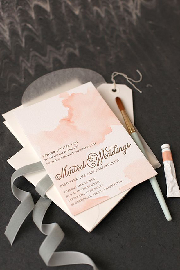 blush watercolour wedding stationery