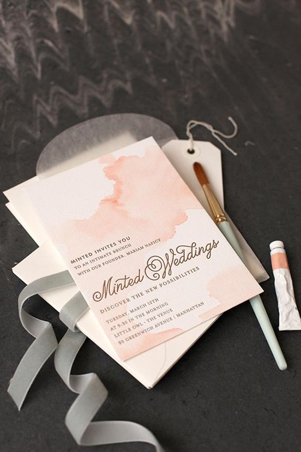 blush watercolour wedding stationery