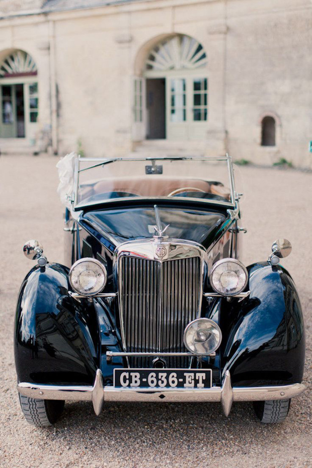 elegant black vintage wedding car