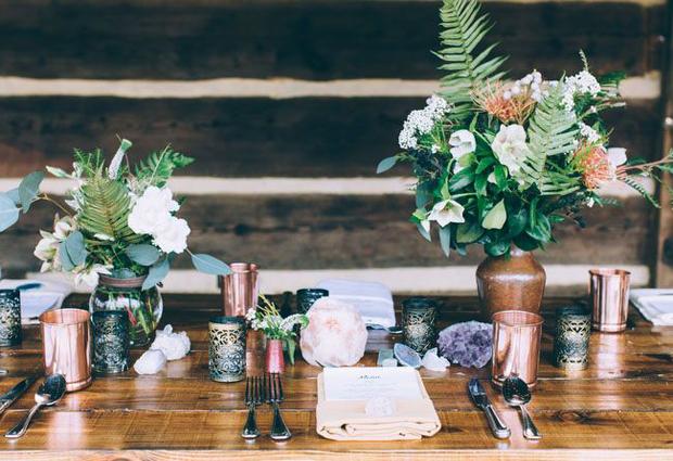 organic copper wedding inspiration