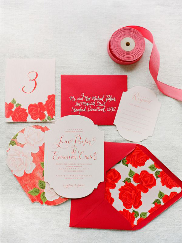 fiesta red - floral wedding invites