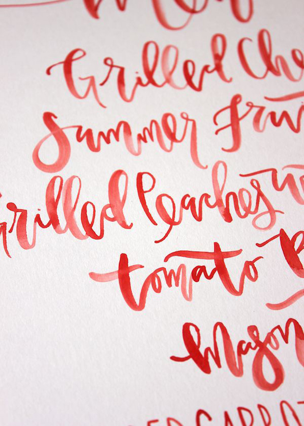 fiesta red wedding inspiration - calligraphy