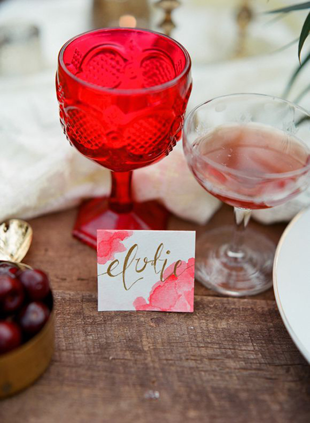 fiesta red wedding inspiration - glass