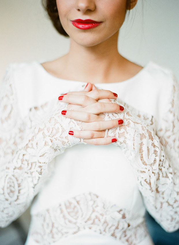 fiesta red weddinginspiration- nails and lips