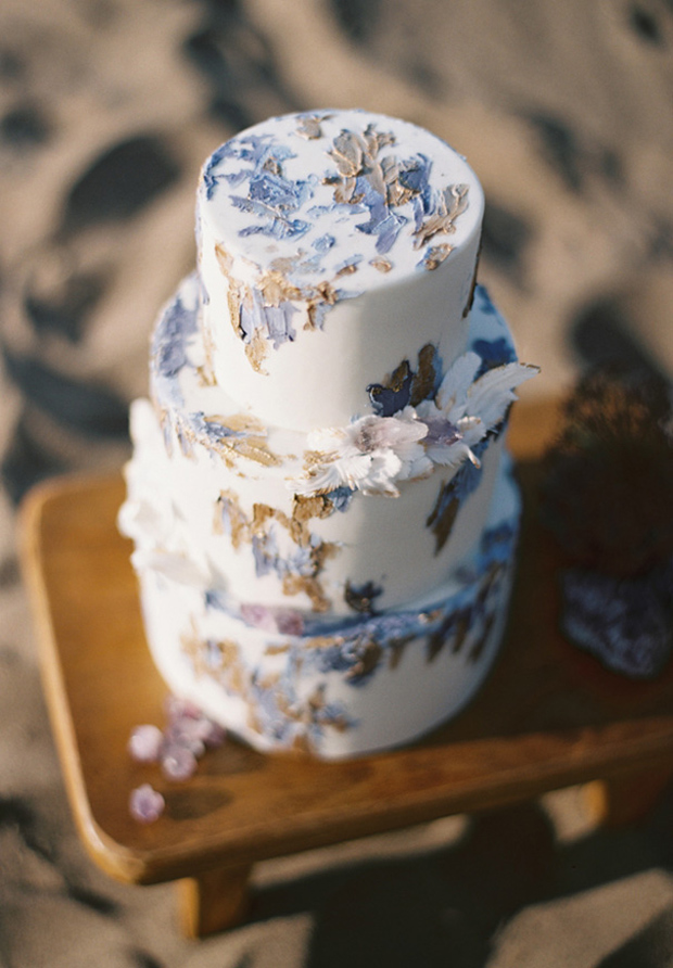 lilac gray and gold wedding cake