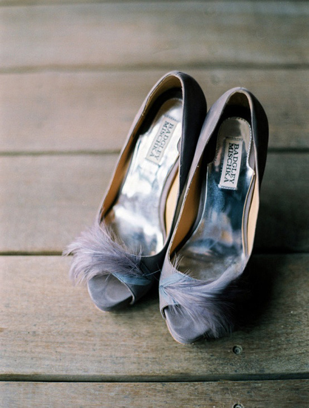 lilac gray wedding shoes with feather