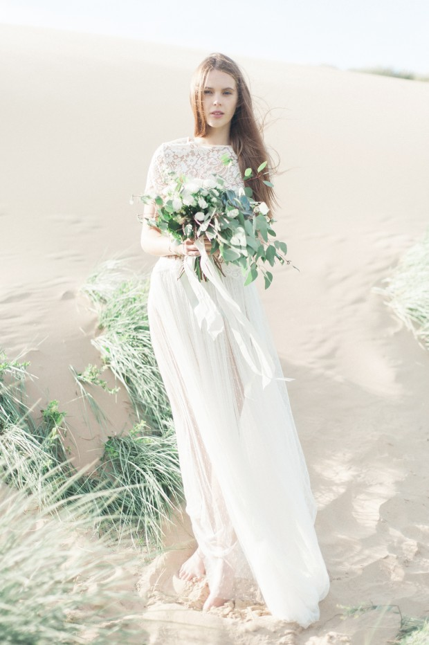 Ethereal & Beautiful Fine Art Bridal Editorial: Lace, Light, Sand & Sea