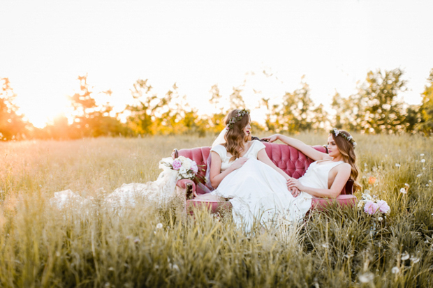 Super Pretty, Rustic Bridal Editorial With Beautiful Twin Brides