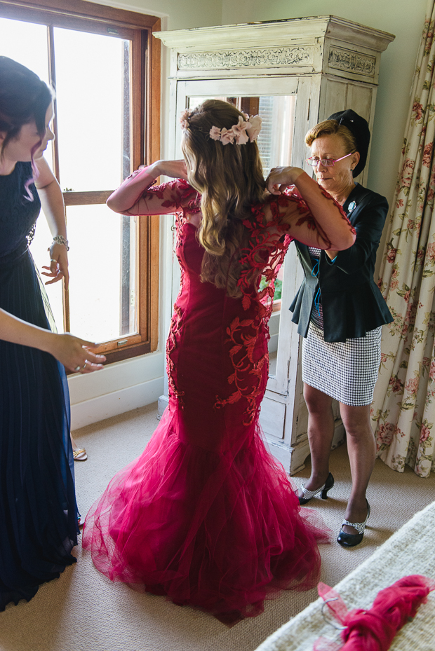 Rustic Red Dress Wedding With Home-made Details: Mckenna & Calvin