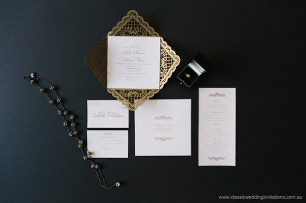 baroque lace wedding invitation