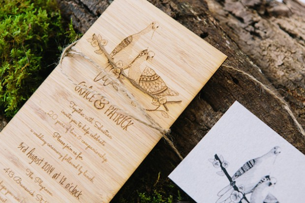 engraved bamboo wedding invite