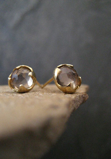 gold and smoky quartz earrings