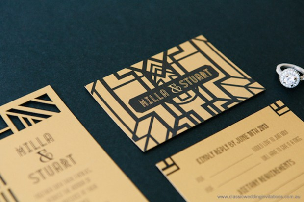 laser cut gatsby invitation