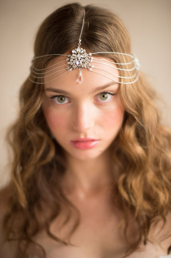 Hair Accessories Chain Head Crown, 1920's Vintage Inspired Multi-strand Silver Crystal Headpiece Art Deco Headband