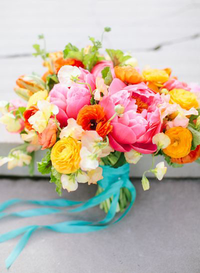 orange and turquoise blue floral bouquet