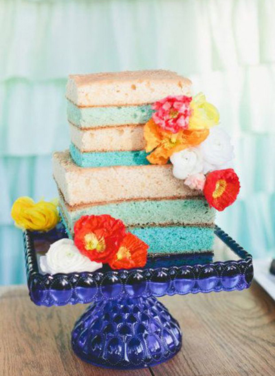 oranges & blues wedding cake