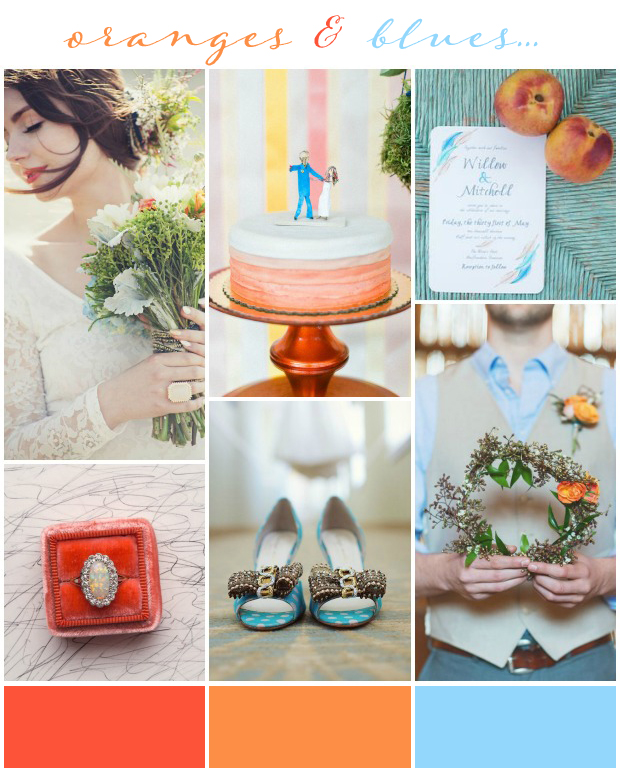 Oranges & Blues Wedding Inspiration & Colour Ideas
