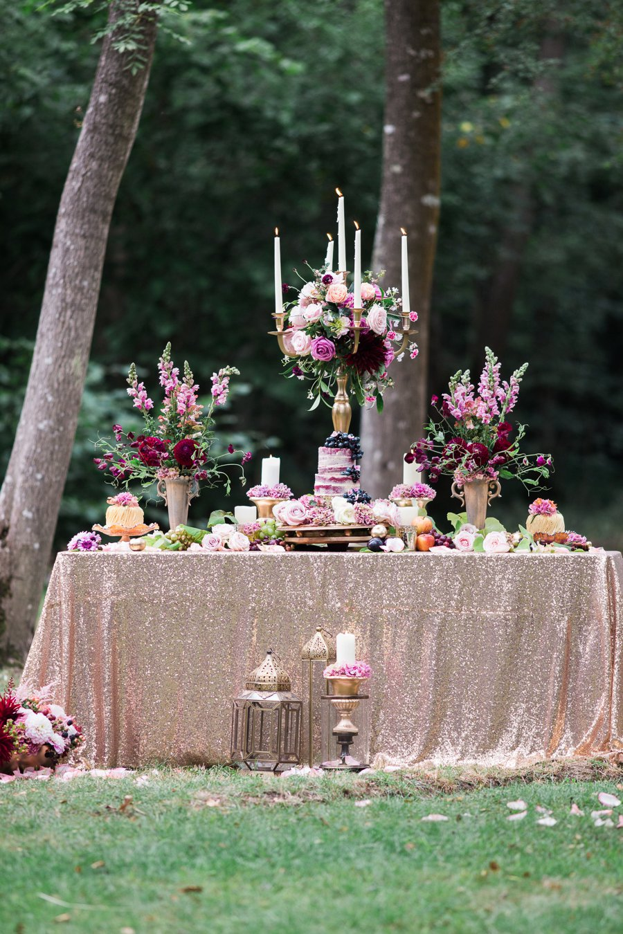 Berry Reds, Pretty Pinks & Rose Gold Bridal Forest Shoot