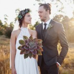 A Giant Succulent Bouquet, Foliage Crowns & Tree Stumps for an Earthy, Rustic Wedding: Chris & Melissa