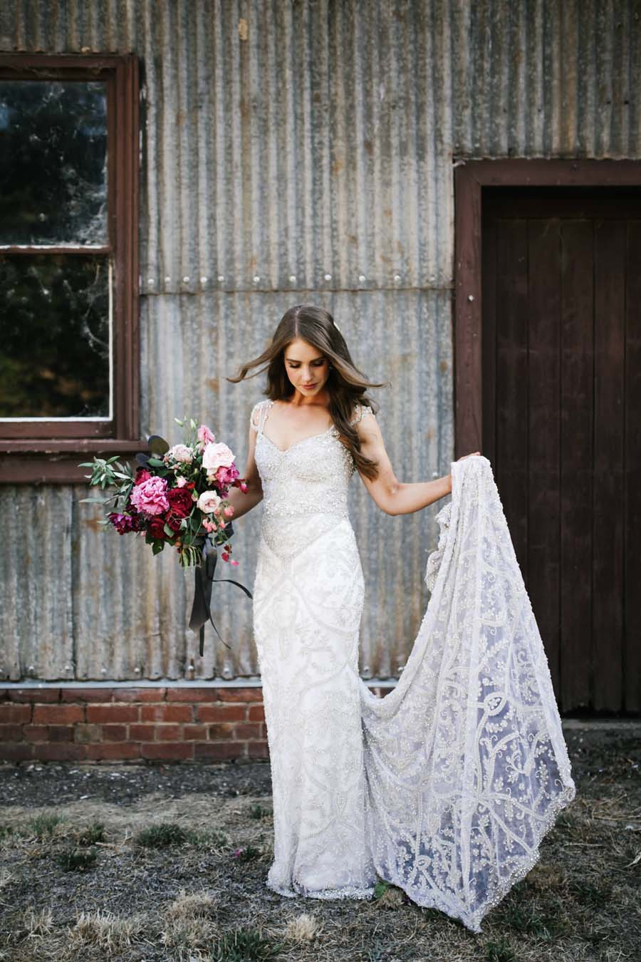 Amazing wedding dress designer anna campbell 39 s rustic glam for Custom wedding dress designers