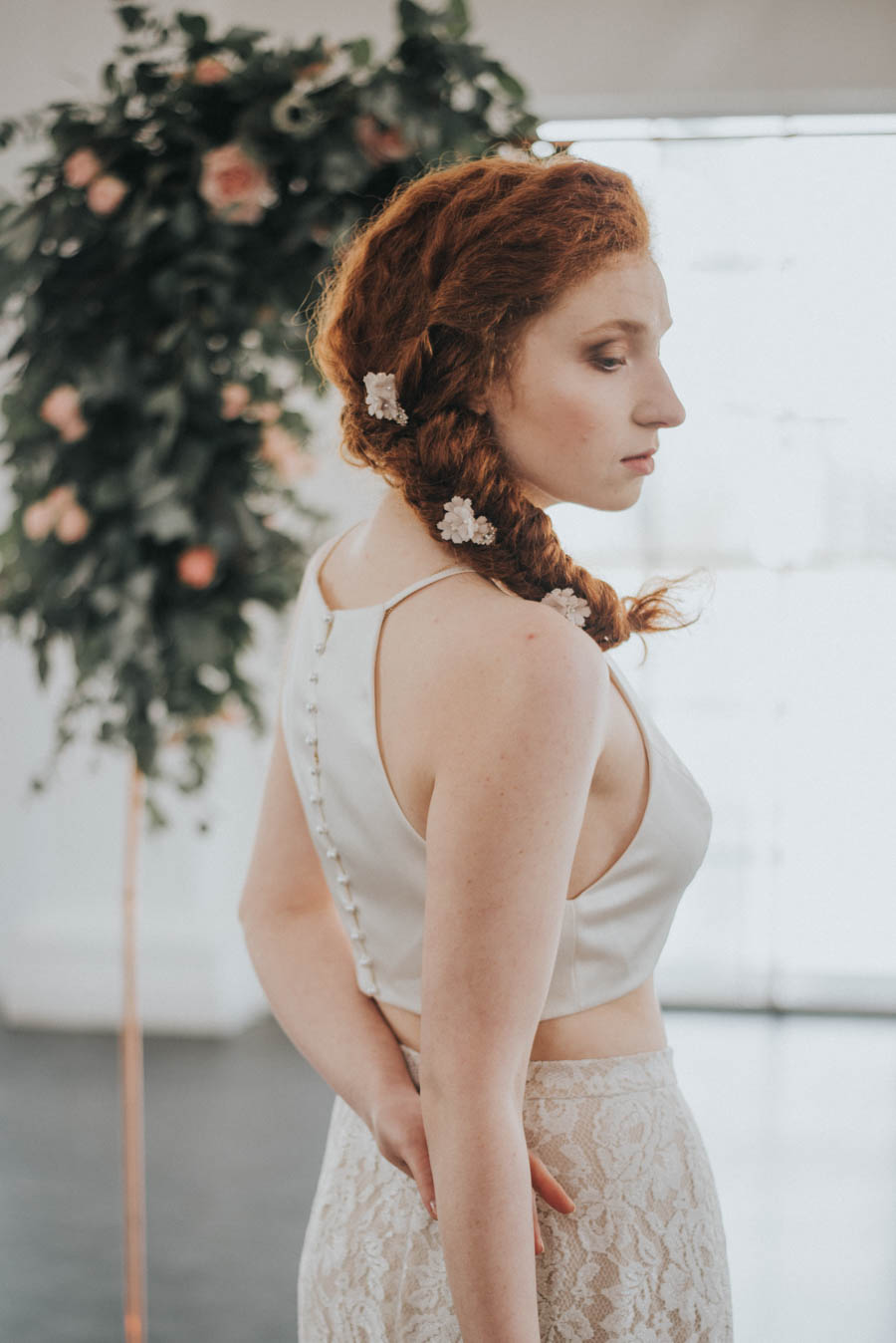 Industrial, Crystal Chic Styled Bridal Shoot: Cool Copper & Romantic Rose Quartz!