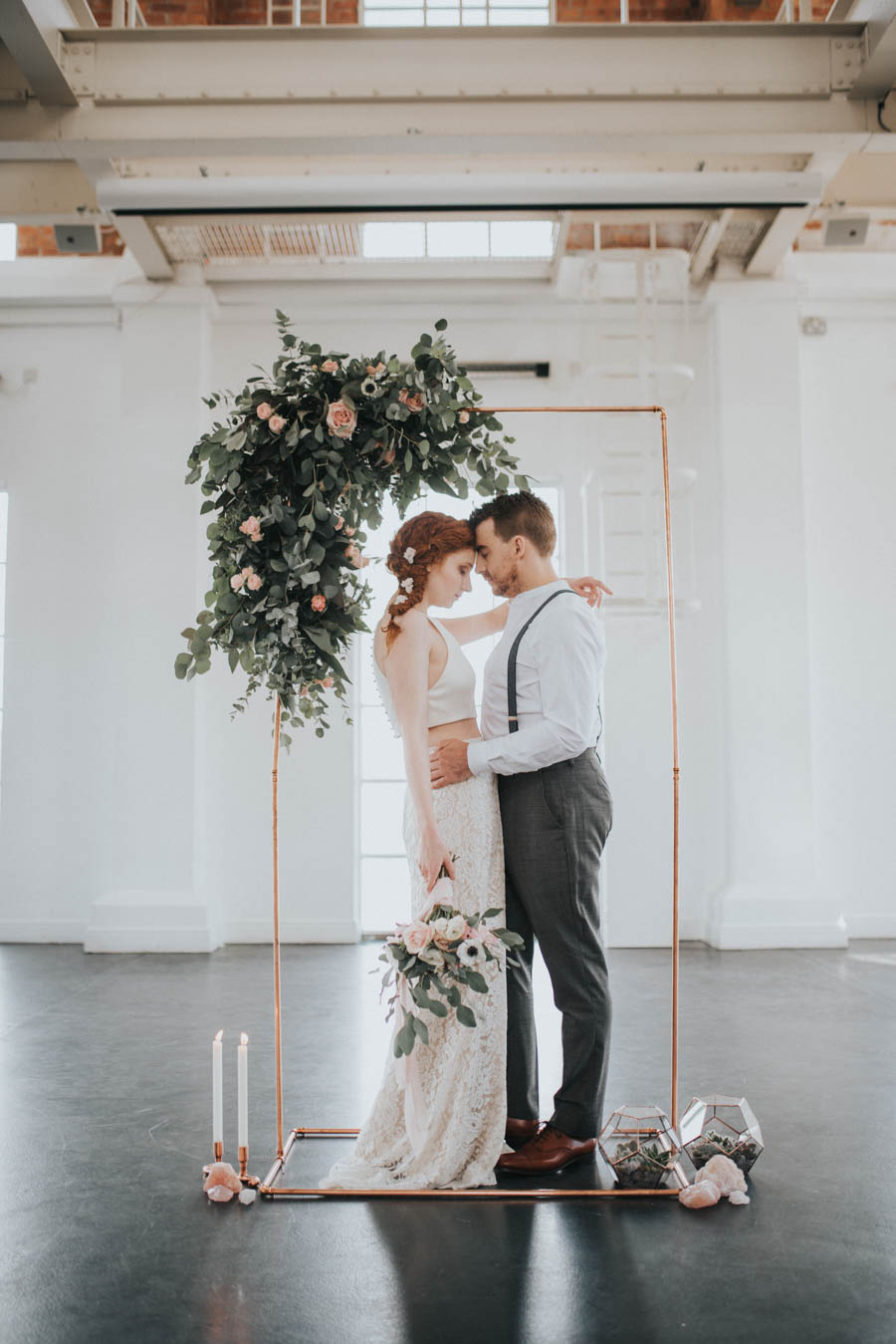 Industrial, Crystal Chic Styled Bridal Shoot: Cool Copper & Romantic ...