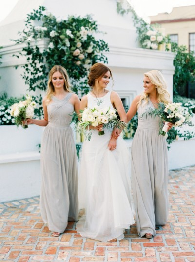 grey bridesmaids stylemepretty.com - greergphotography.com